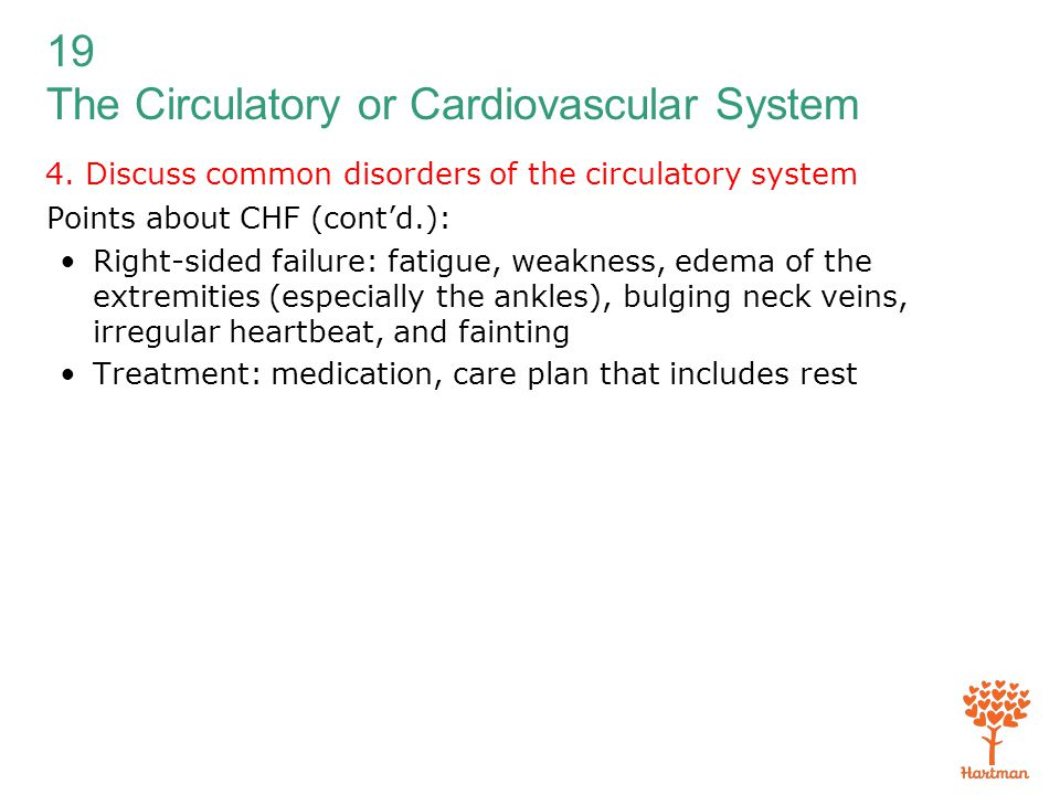 19 The Circulatory or Cardiovascular System 4. Discuss common disorders of the circulatory system Points about CHF (cont'd.): Right-sided failure: fat
