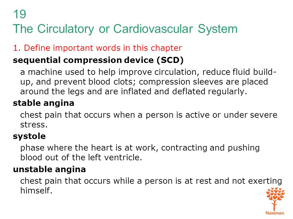19 The Circulatory or Cardiovascular System 1. Define important words in this chapter sequential compression device (SCD) a machine used to help impro