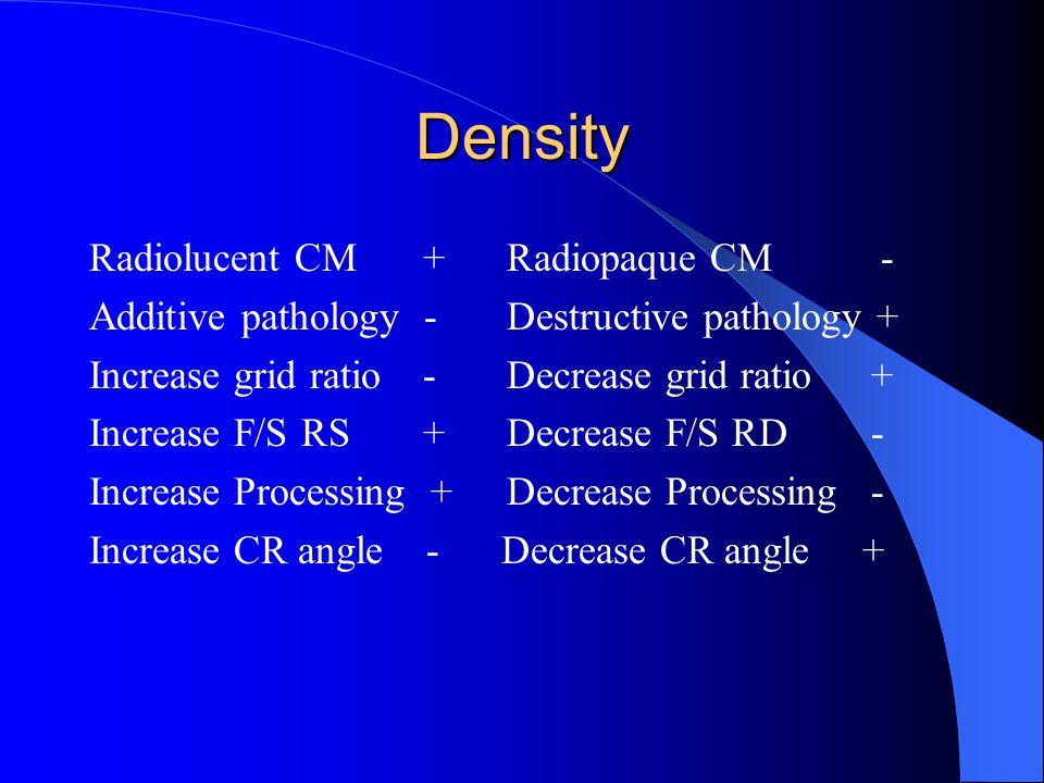 Density Radiolucent CM + Radiopaque CM - Additive pathology -Destructive pathology + Increase grid ratio -Decrease grid ratio + Increase F/S RS +Decrease F/S RD - Increase Processing +Decrease Processing - Increase CR angle - Decrease CR angle +