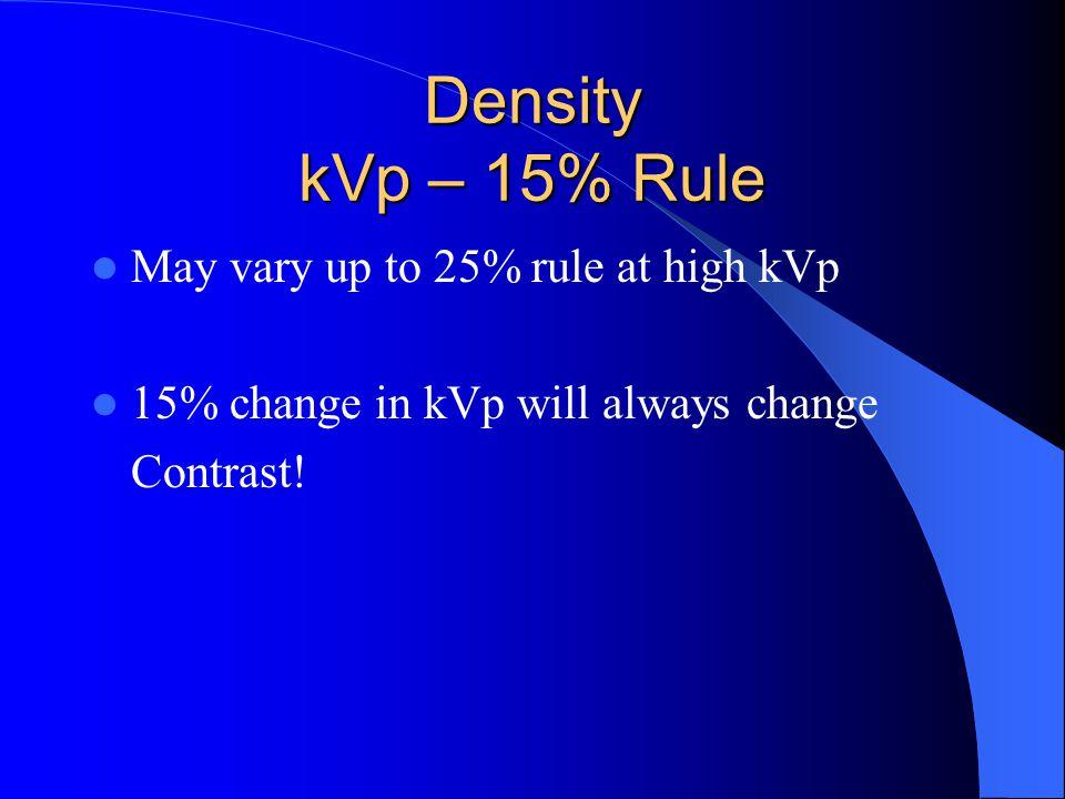 Density kVp – 15% Rule May vary up to 25% rule at high kVp 15% change in kVp will always change Contrast!