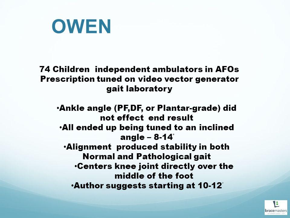 OWEN 74 Children independent ambulators in AFOs Prescription tuned on video vector generator gait laboratory Ankle angle (PF,DF, or Plantar-grade) did