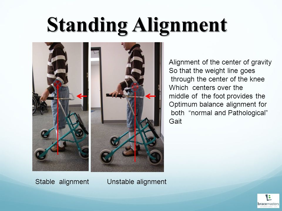 Standing Alignment Alignment of the center of gravity So that the weight line goes through the center of the knee Which centers over the middle of the foot provides the Optimum balance alignment for both normal and Pathological Gait Stable alignmentUnstable alignment