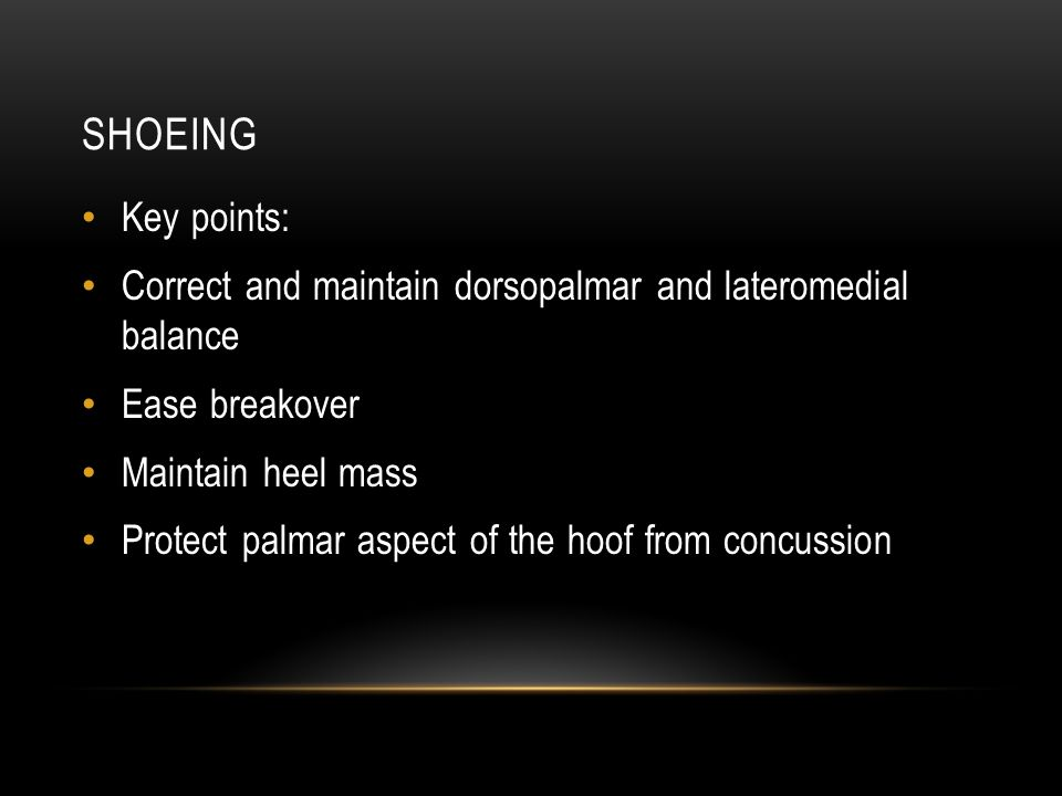 SHOEING Key points: Correct and maintain dorsopalmar and lateromedial balance Ease breakover Maintain heel mass Protect palmar aspect of the hoof from concussion