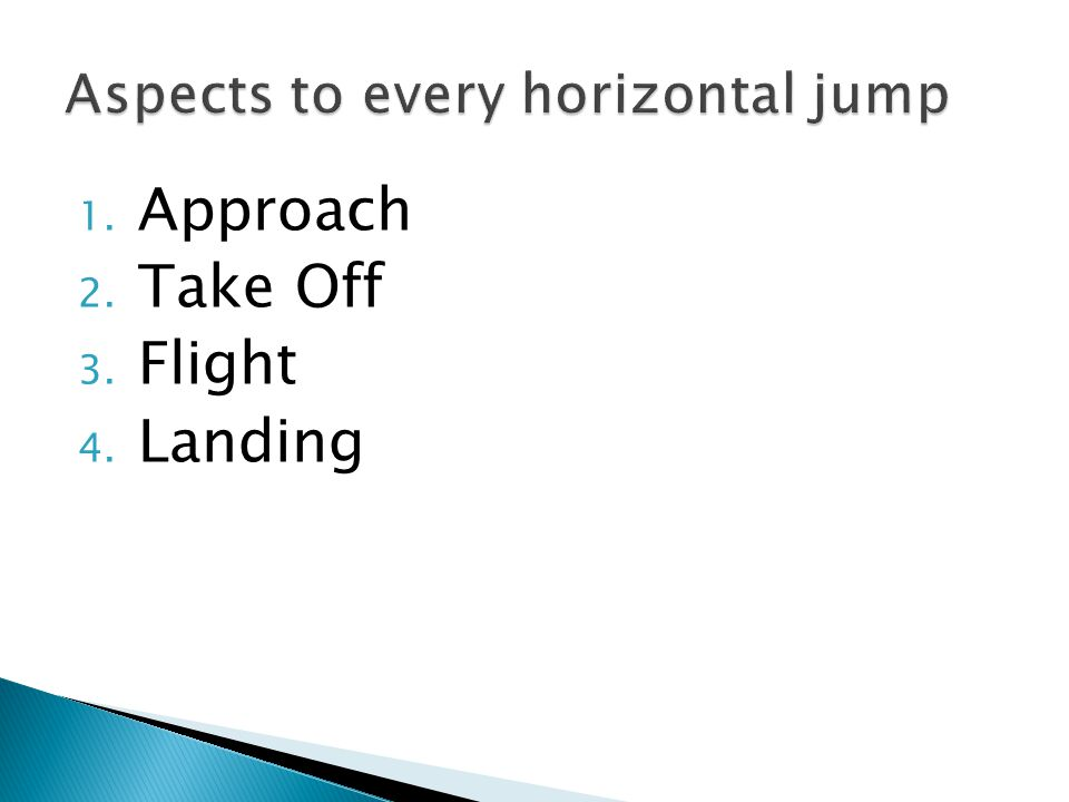 1. Approach 2. Take Off 3. Flight 4. Landing