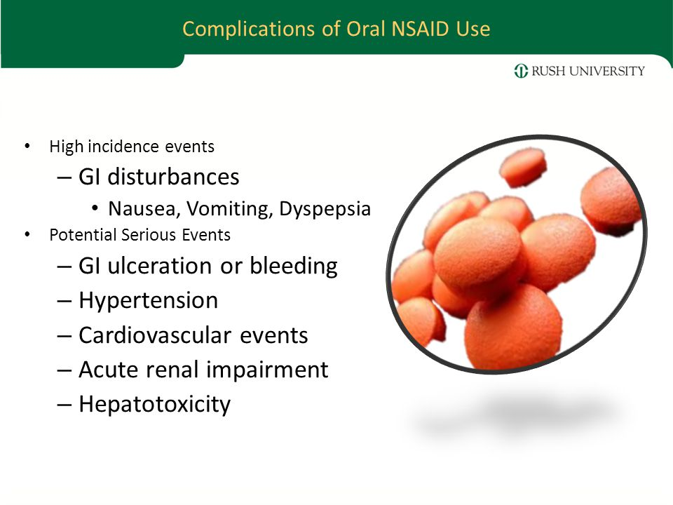 Complications of Oral NSAID Use High incidence events – GI disturbances Nausea, Vomiting, Dyspepsia Potential Serious Events – GI ulceration or bleeding – Hypertension – Cardiovascular events – Acute renal impairment – Hepatotoxicity