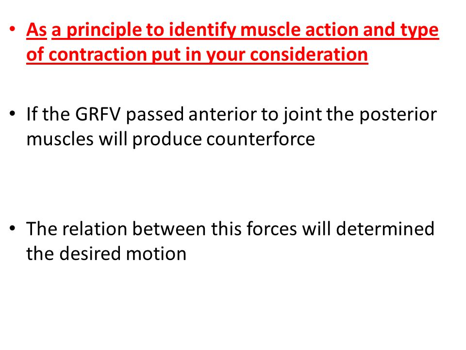 As a principle to identify muscle action and type of contraction put in your consideration If the GRFV passed anterior to joint the posterior muscles