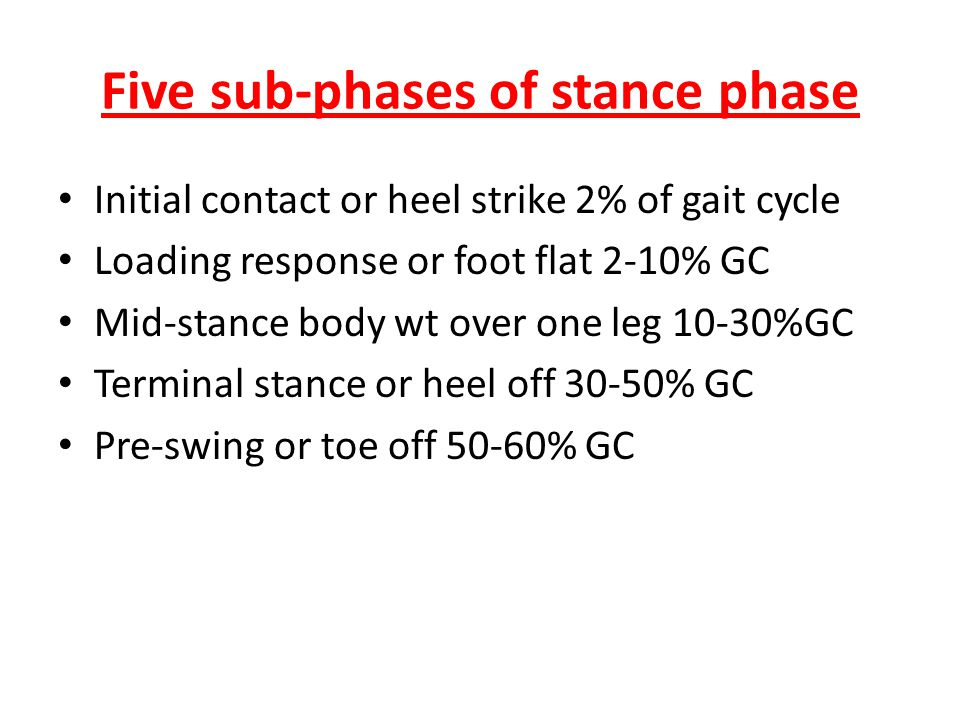 Five sub-phases of stance phase Initial contact or heel strike 2% of gait cycle Loading response or foot flat 2-10% GC Mid-stance body wt over one leg