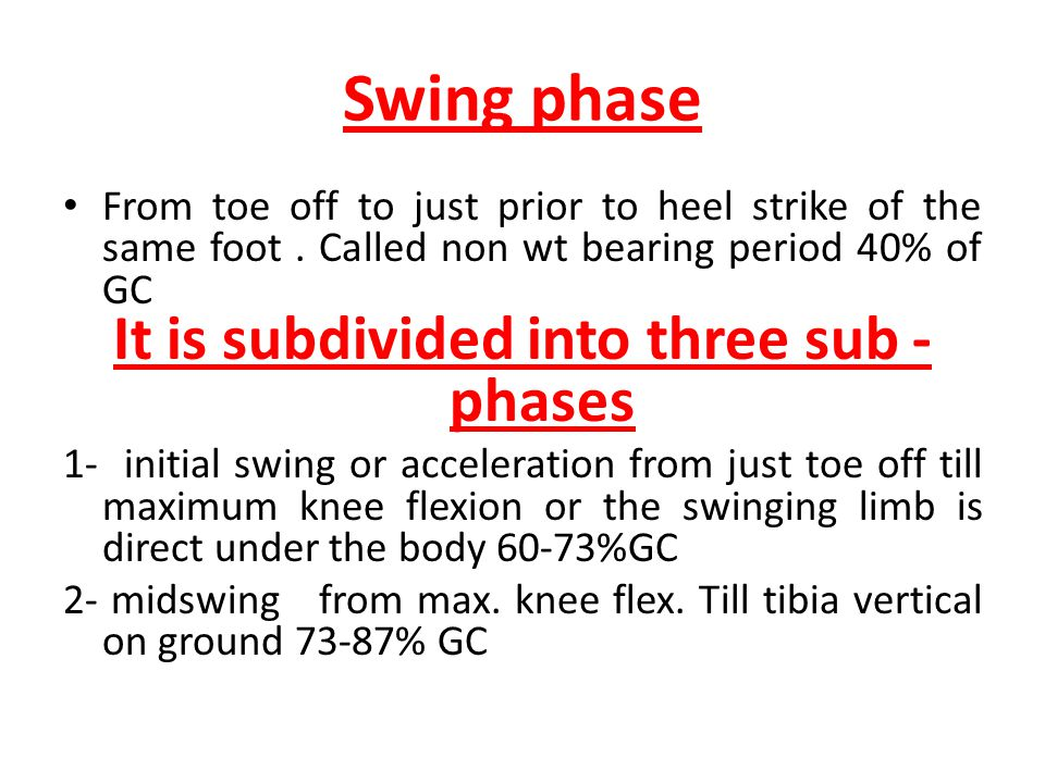 Swing phase From toe off to just prior to heel strike of the same foot. Called non wt bearing period 40% of GC It is subdivided into three sub - phase