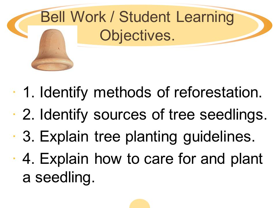 Bell Work / Student Learning Objectives.·1. Identify methods of reforestation.