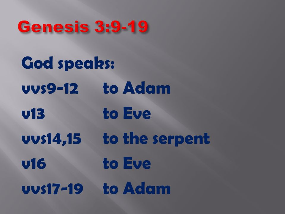 God speaks: vvs9-12to Adam v13to Eve vvs14,15to the serpent v16to Eve vvs17-19to Adam