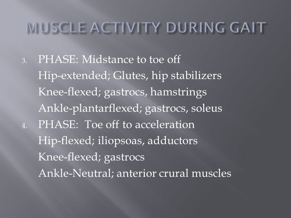 3. PHASE: Midstance to toe off Hip-extended; Glutes, hip stabilizers Knee-flexed; gastrocs, hamstrings Ankle-plantarflexed; gastrocs, soleus 4. PHASE: