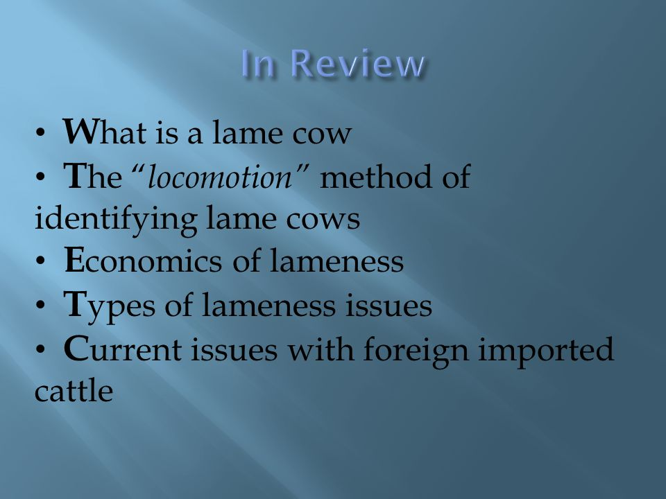 W hat is a lame cow T he locomotion method of identifying lame cows E conomics of lameness T ypes of lameness issues C urrent issues with foreign imported cattle