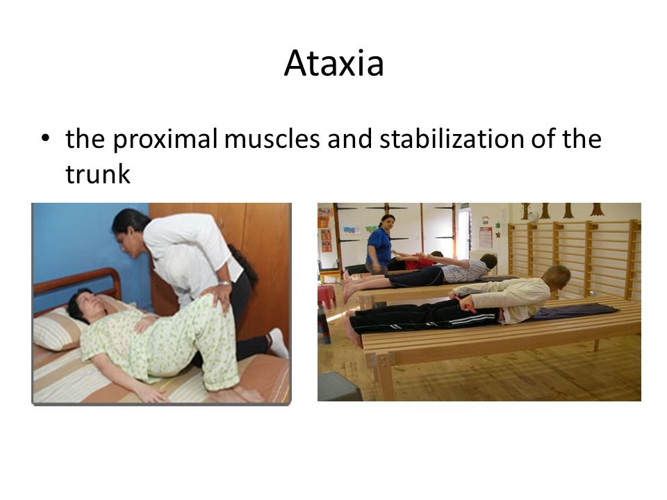 Ataxia the proximal muscles and stabilization of the trunk