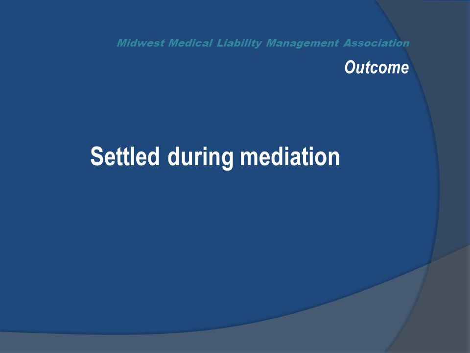 Midwest Medical Liability Management Association Outcome Settled during mediation