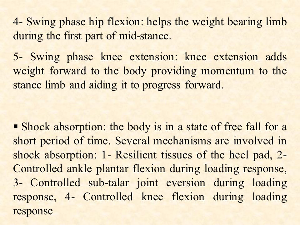 4- Swing phase hip flexion: helps the weight bearing limb during the first part of mid-stance.