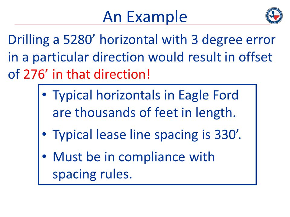 An Example Drilling a 5280' horizontal with 3 degree error in a particular direction would result in offset of 276' in that direction! Typical horizon