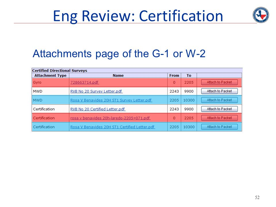 52 Attachments page of the G-1 or W-2 Eng Review: Certification