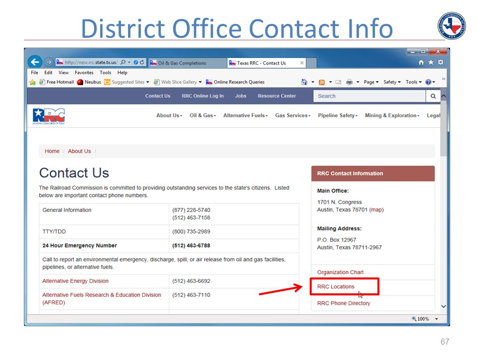 67 District Office Contact Info