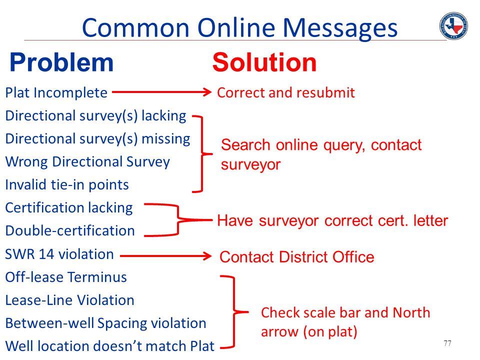 77 Common Online Messages Plat Incomplete Directional survey(s) lacking Directional survey(s) missing Wrong Directional Survey Invalid tie-in points C