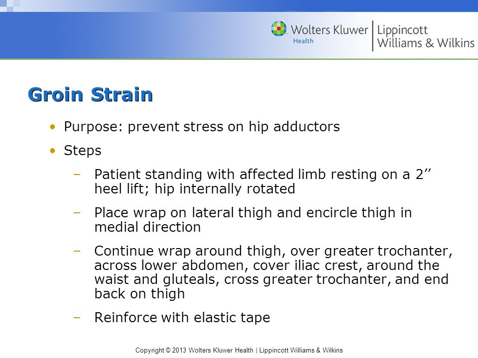 Copyright © 2013 Wolters Kluwer Health | Lippincott Williams & Wilkins Groin Strain Purpose: prevent stress on hip adductors Steps –Patient standing w