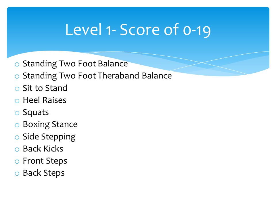 o Standing Two Foot Balance o Standing Two Foot Theraband Balance o Sit to Stand o Heel Raises o Squats o Boxing Stance o Side Stepping o Back Kicks o Front Steps o Back Steps Level 1- Score of 0-19