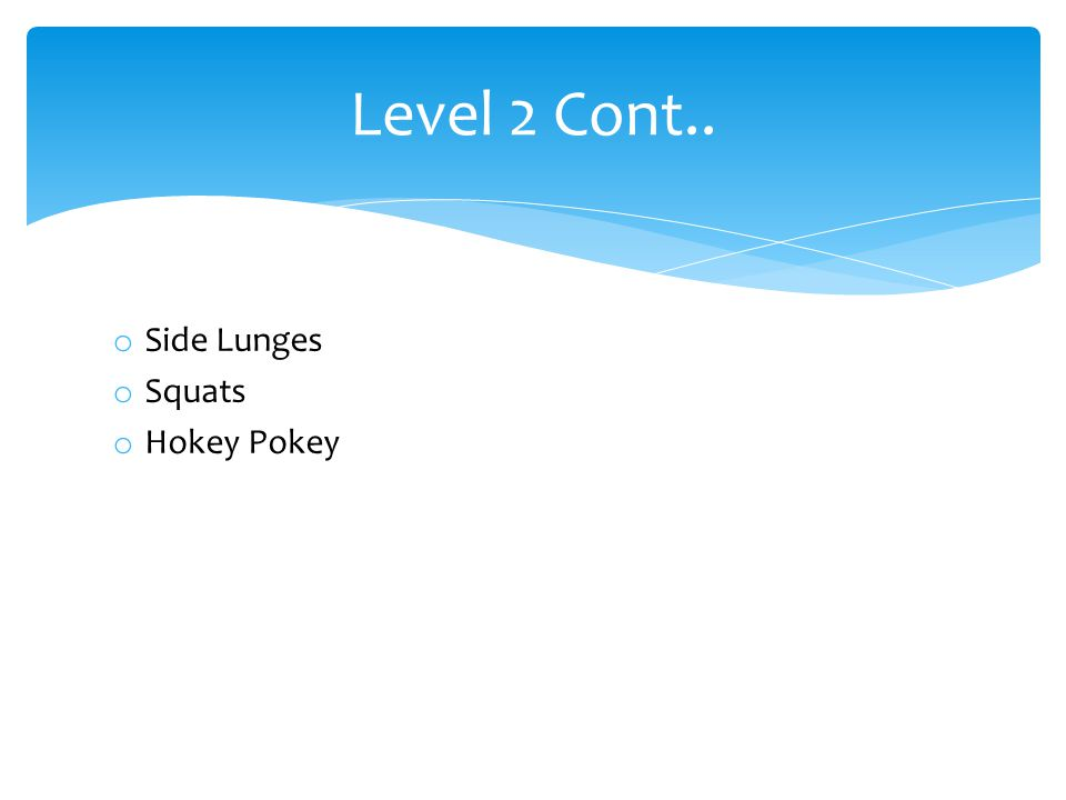 o Side Lunges o Squats o Hokey Pokey Level 2 Cont..