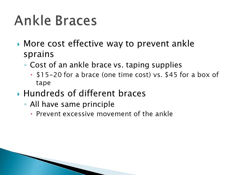 More cost effective way to prevent ankle sprains ◦ Cost of an ankle brace vs.