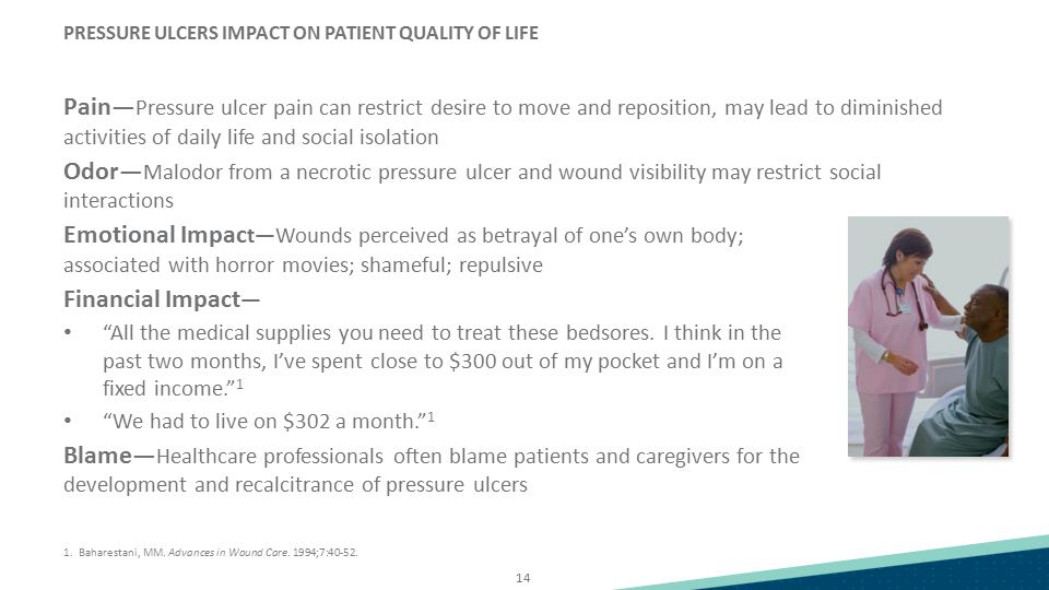 14 PRESSURE ULCERS IMPACT ON PATIENT QUALITY OF LIFE Pain— Pressure ulcer pain can restrict desire to move and reposition, may lead to diminished acti