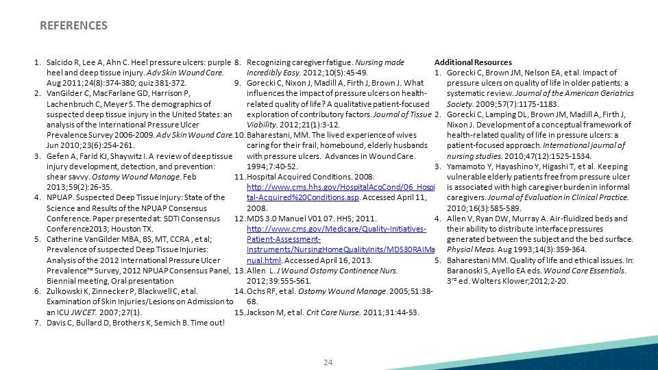 24 1.Salcido R, Lee A, Ahn C. Heel pressure ulcers: purple heel and deep tissue injury. Adv Skin Wound Care. Aug 2011;24(8):374-380; quiz 381-372. 2.V