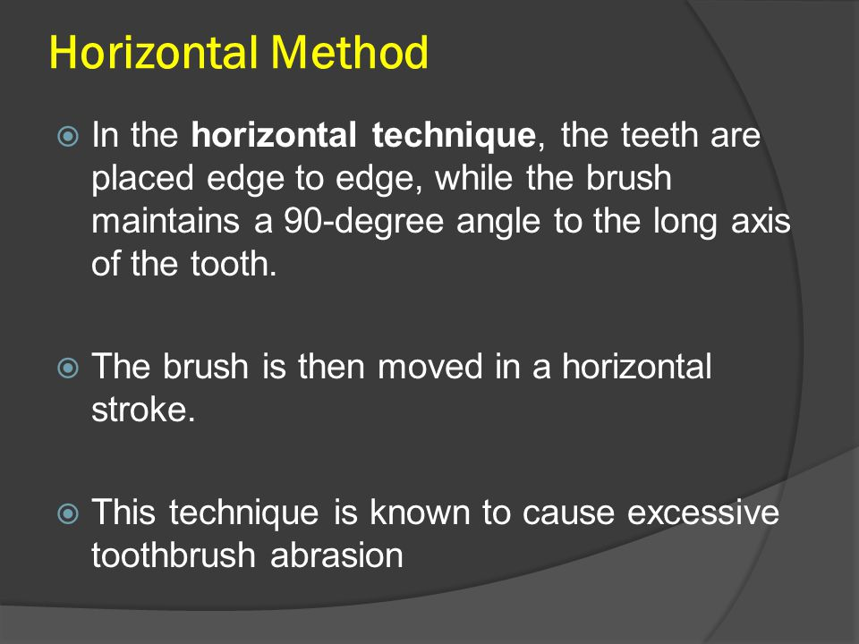 Horizontal Method  In the horizontal technique, the teeth are placed edge to edge, while the brush maintains a 90-degree angle to the long axis of the tooth.