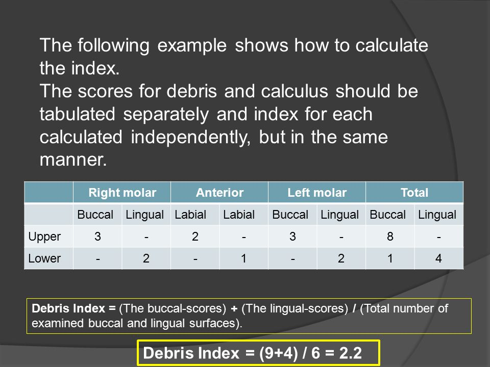 The following example shows how to calculate the index.