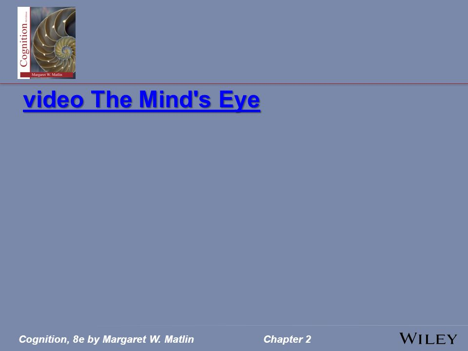 Cognition, 8e by Margaret W. MatlinChapter 2 video The Mind s Eye video The Mind s Eye