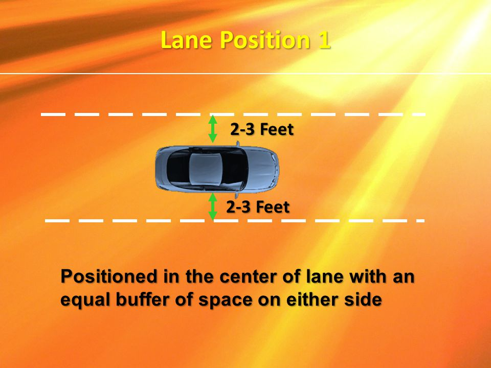 2-3 Feet Lane Position 1 Positioned in the center of lane with an equal buffer of space on either side