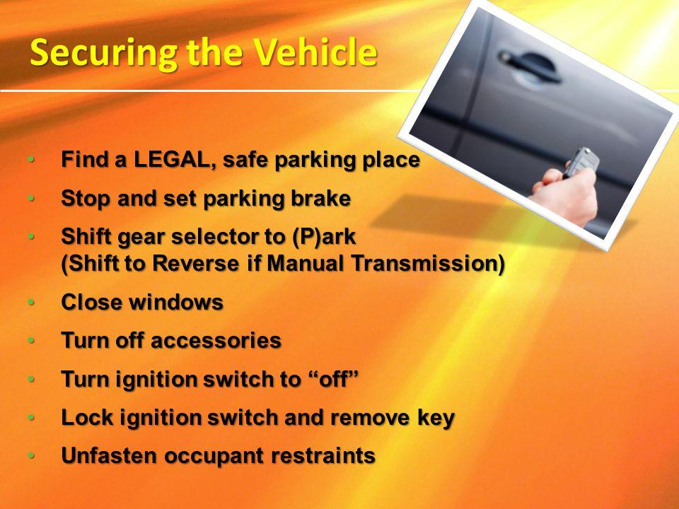 Find a LEGAL, safe parking place Find a LEGAL, safe parking place Stop and set parking brake Stop and set parking brake Shift gear selector to (P)ark