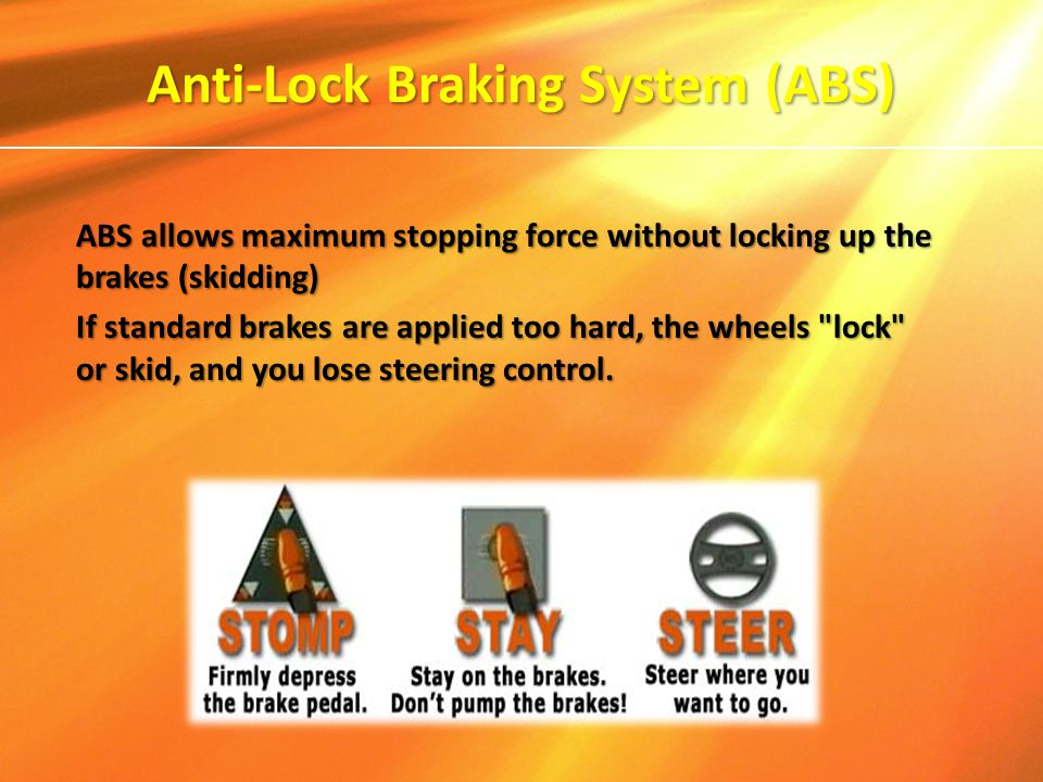 Anti-Lock Braking System (ABS) ABS allows maximum stopping force without locking up the brakes (skidding) If standard brakes are applied too hard, the