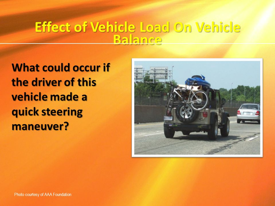 Effect of Vehicle Load On Vehicle Balance What could occur if the driver of this vehicle made a quick steering maneuver? Photo courtesy of AAA Foundat