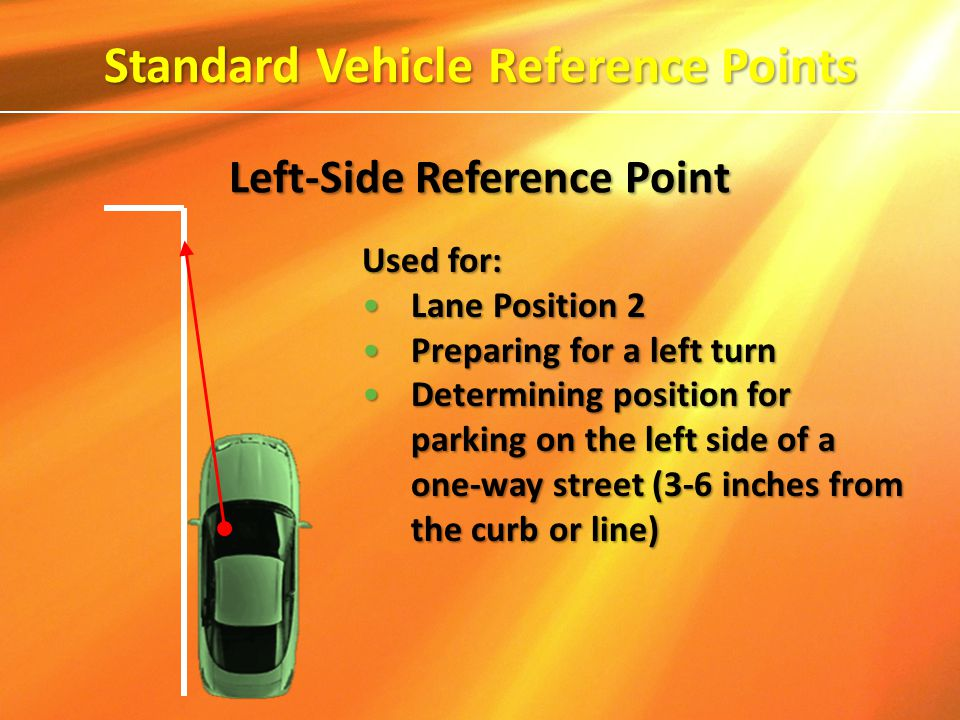 Used for: Lane Position 2Lane Position 2 Preparing for a left turnPreparing for a left turn Determining position for parking on the left side of a one