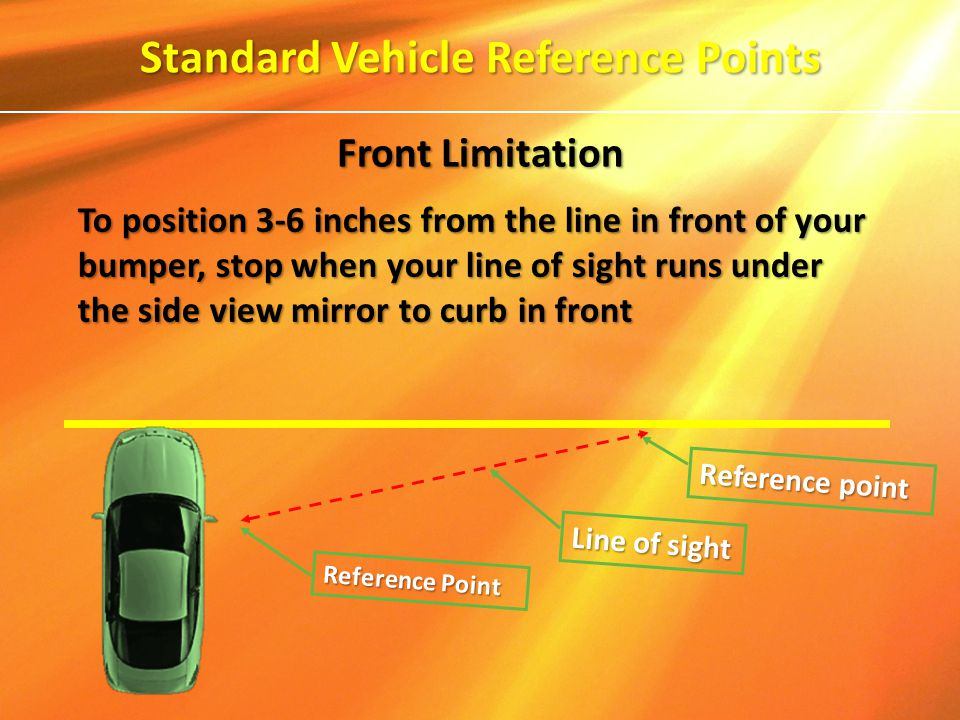 To position 3-6 inches from the line in front of your bumper, stop when your line of sight runs under the side view mirror to curb in front Reference