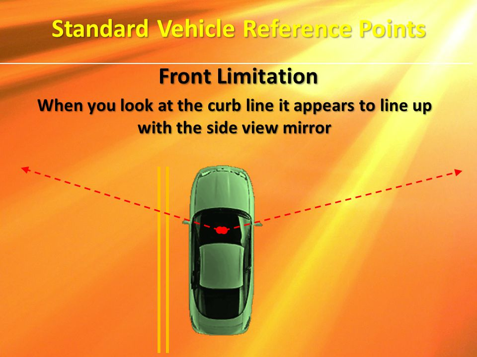 When you look at the curb line it appears to line up with the side view mirror Standard Vehicle Reference Points