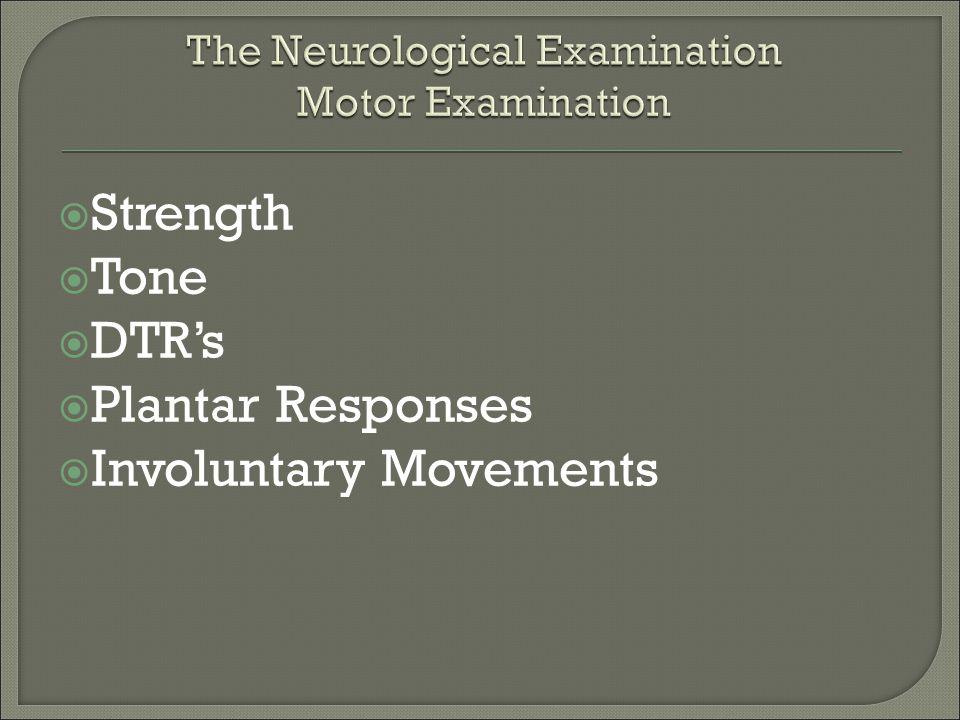  Strength  Tone  DTR's  Plantar Responses  Involuntary Movements