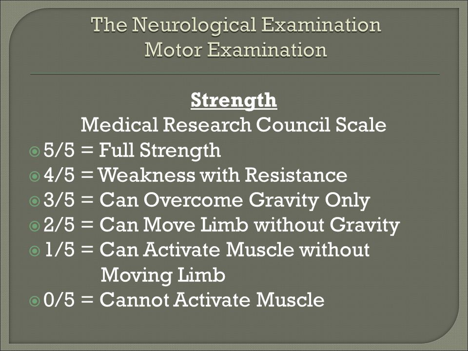 Medical Research Council Scale  5/5 = Full Strength  4/5 = Weakness with Resistance  3/5 = Can Overcome Gravity Only  2/5 = Can Move Limb without