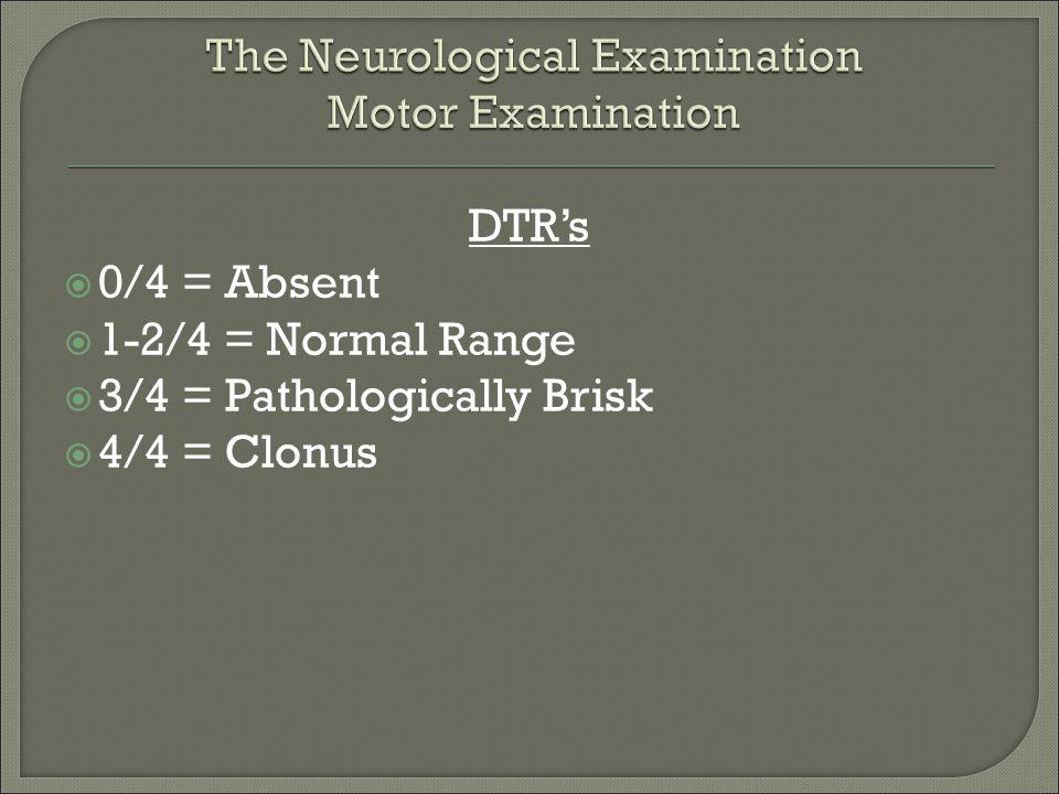 DTR's  0/4 = Absent  1-2/4 = Normal Range  3/4 = Pathologically Brisk  4/4 = Clonus