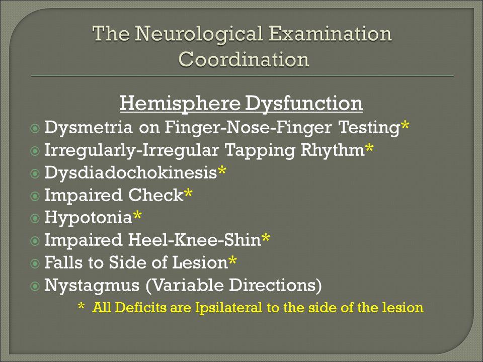Hemisphere Dysfunction  Dysmetria on Finger-Nose-Finger Testing*  Irregularly-Irregular Tapping Rhythm*  Dysdiadochokinesis*  Impaired Check*  Hy