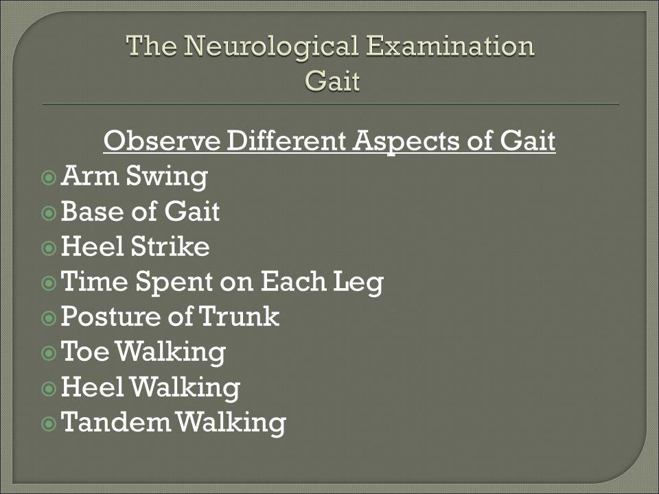 Observe Different Aspects of Gait  Arm Swing  Base of Gait  Heel Strike  Time Spent on Each Leg  Posture of Trunk  Toe Walking  Heel Walking 