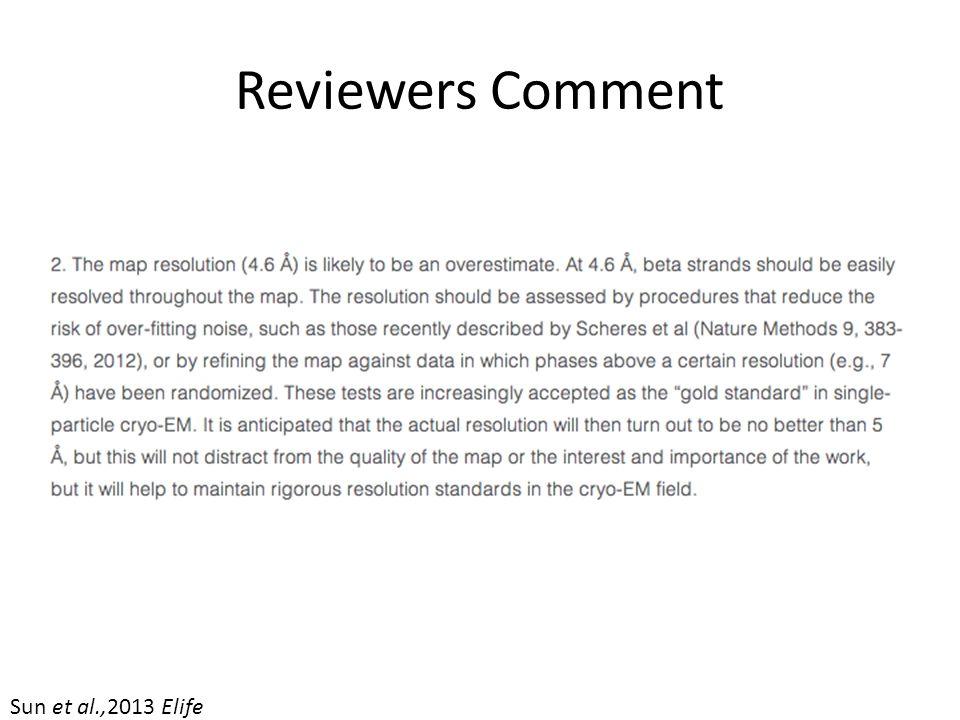 Reviewers Comment Sun et al.,2013 Elife