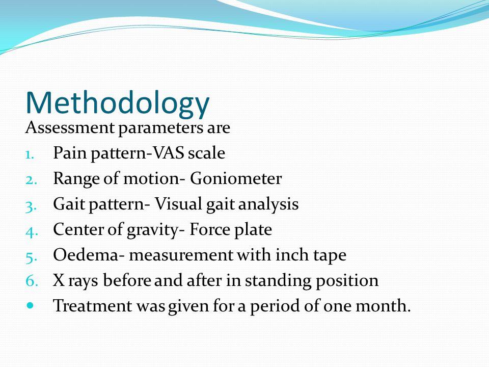 Methodology Assessment parameters are 1. Pain pattern-VAS scale 2. Range of motion- Goniometer 3. Gait pattern- Visual gait analysis 4. Center of grav