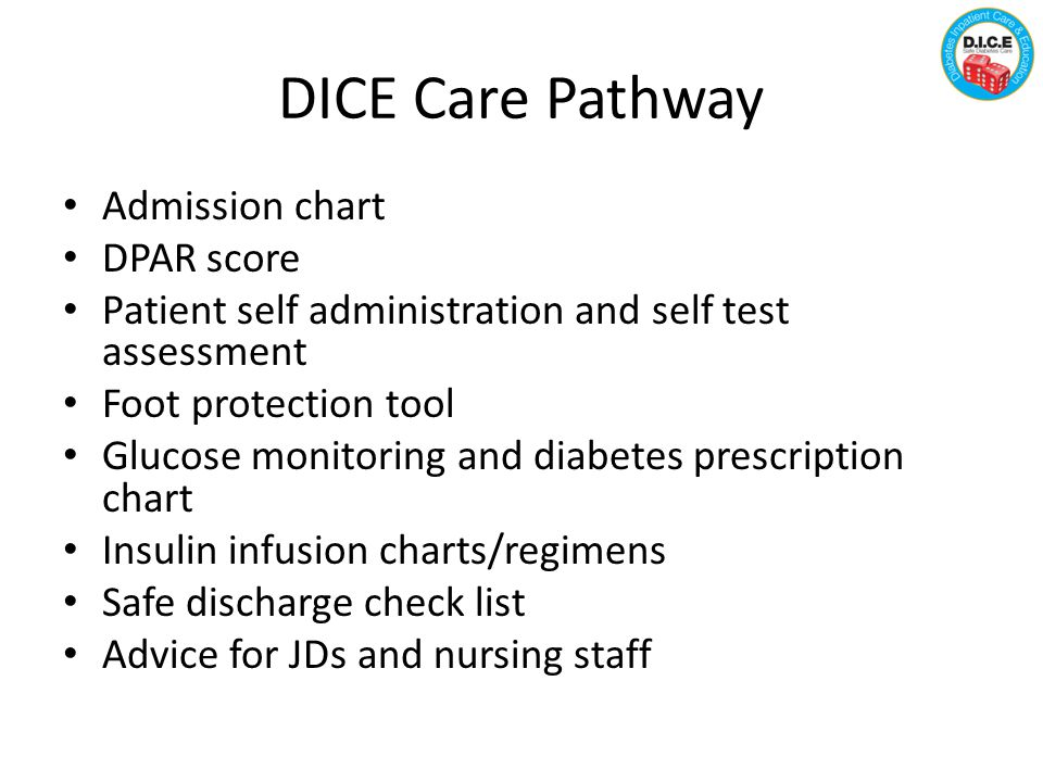 DICE Care Pathway Admission chart DPAR score Patient self administration and self test assessment Foot protection tool Glucose monitoring and diabetes prescription chart Insulin infusion charts/regimens Safe discharge check list Advice for JDs and nursing staff