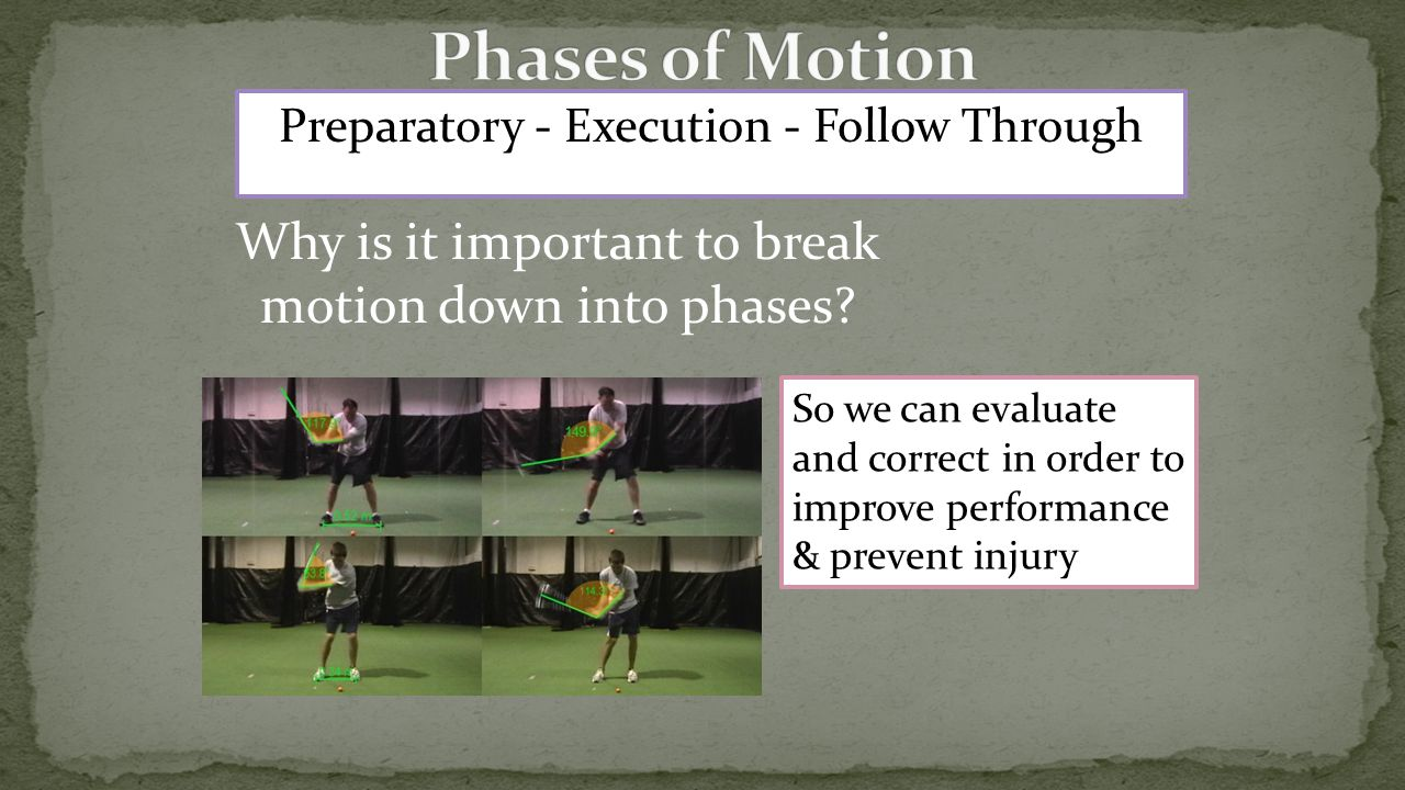 Preparatory - Execution - Follow Through Why is it important to break motion down into phases.