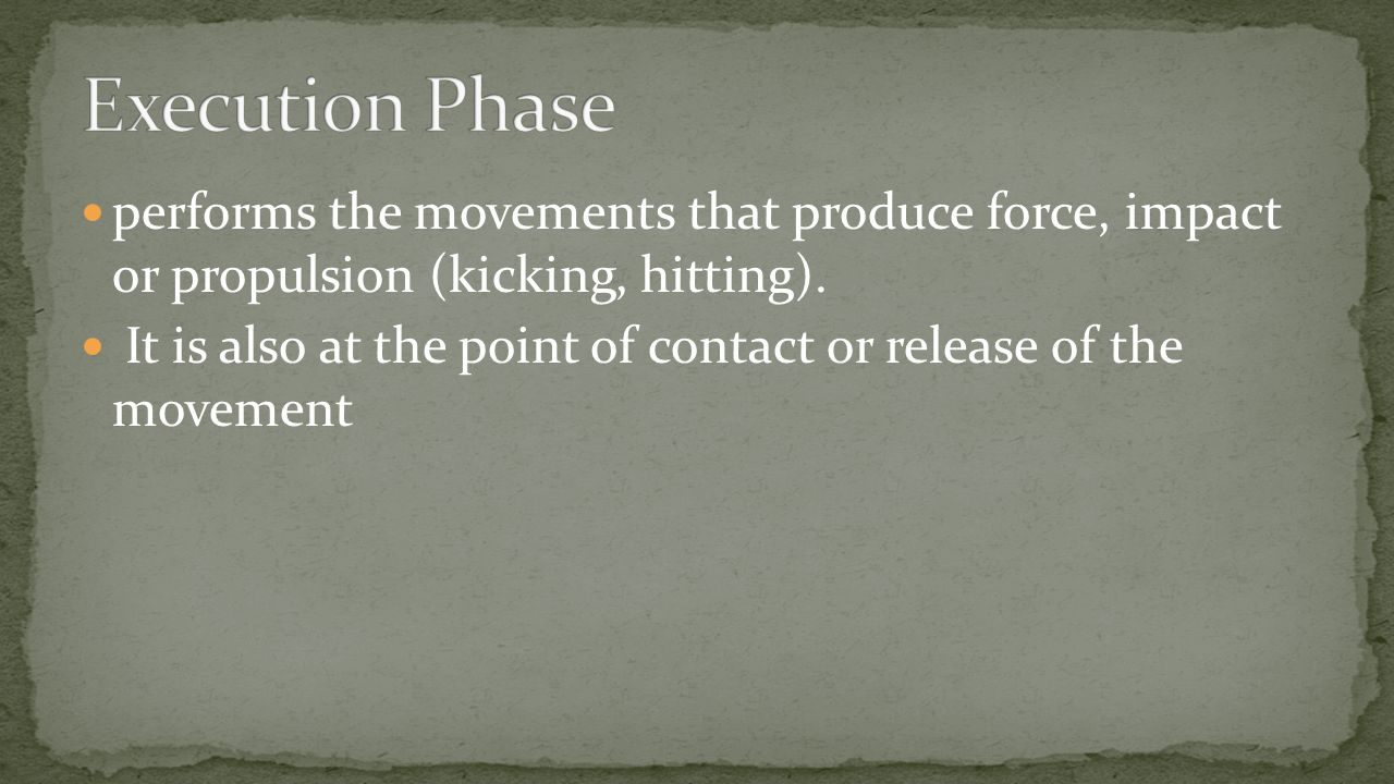 performs the movements that produce force, impact or propulsion (kicking, hitting).