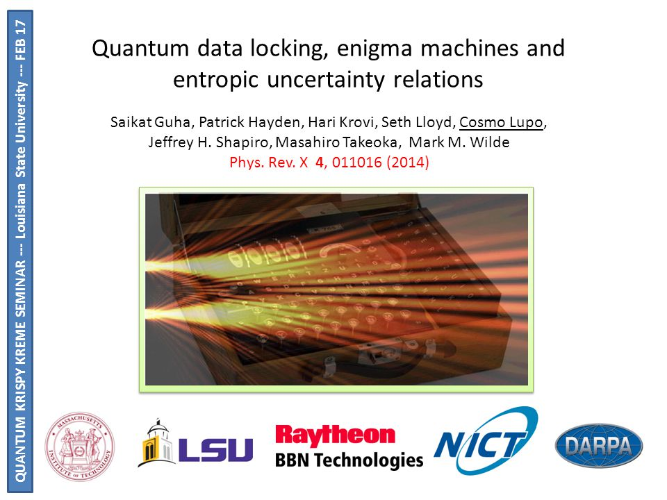 Quantum data locking, enigma machines and entropic uncertainty relations Saikat Guha, Patrick Hayden, Hari Krovi, Seth Lloyd, Cosmo Lupo, Jeffrey H.